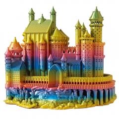 Model zamku wydrukowany z filamentu PLA Rainbow Silk