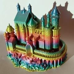Zamek wydrukowany z PLA Rainbow Silk oświetlony światłem słonecznym