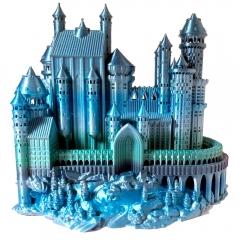 Model zamku wydrukowany z filamentu PLA Rainbow Silk Ocean