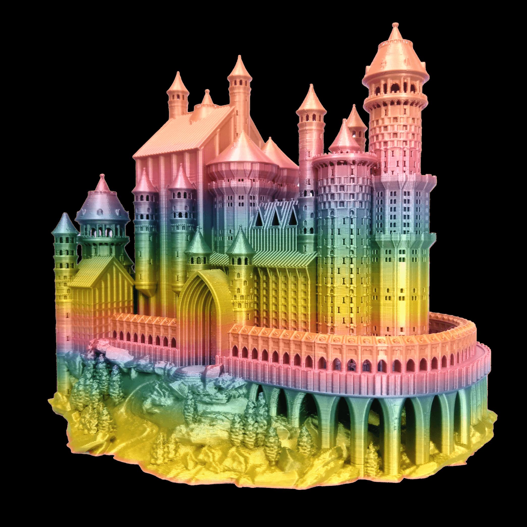 Zamek 3D: użyty materiał to PLA Rainbow Silk