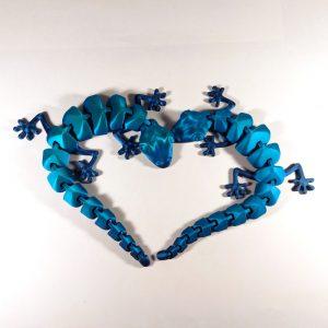 Wydruki gekonów wykonane z filamentu PLA Rainbow Silk Ocean