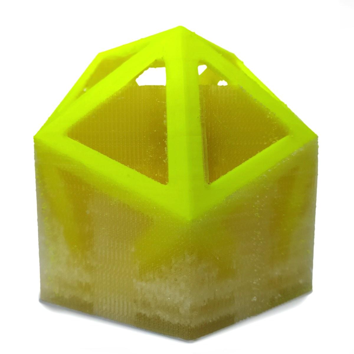dodecahedron wydrukowany z PLA z podporami z PVA